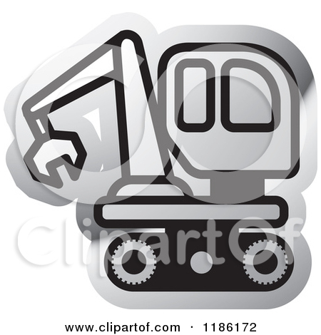 Clipart of a Silver Mining Bulldozer Icon.