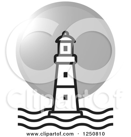 Clipart of a Black and White Lighthouse and Silver Moon or Sun.