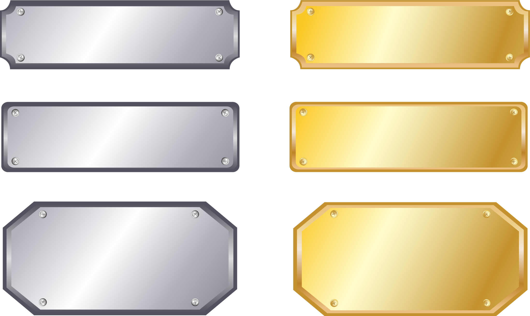 HD Gold Metal Silver Nameplate Sign Free Download Png.