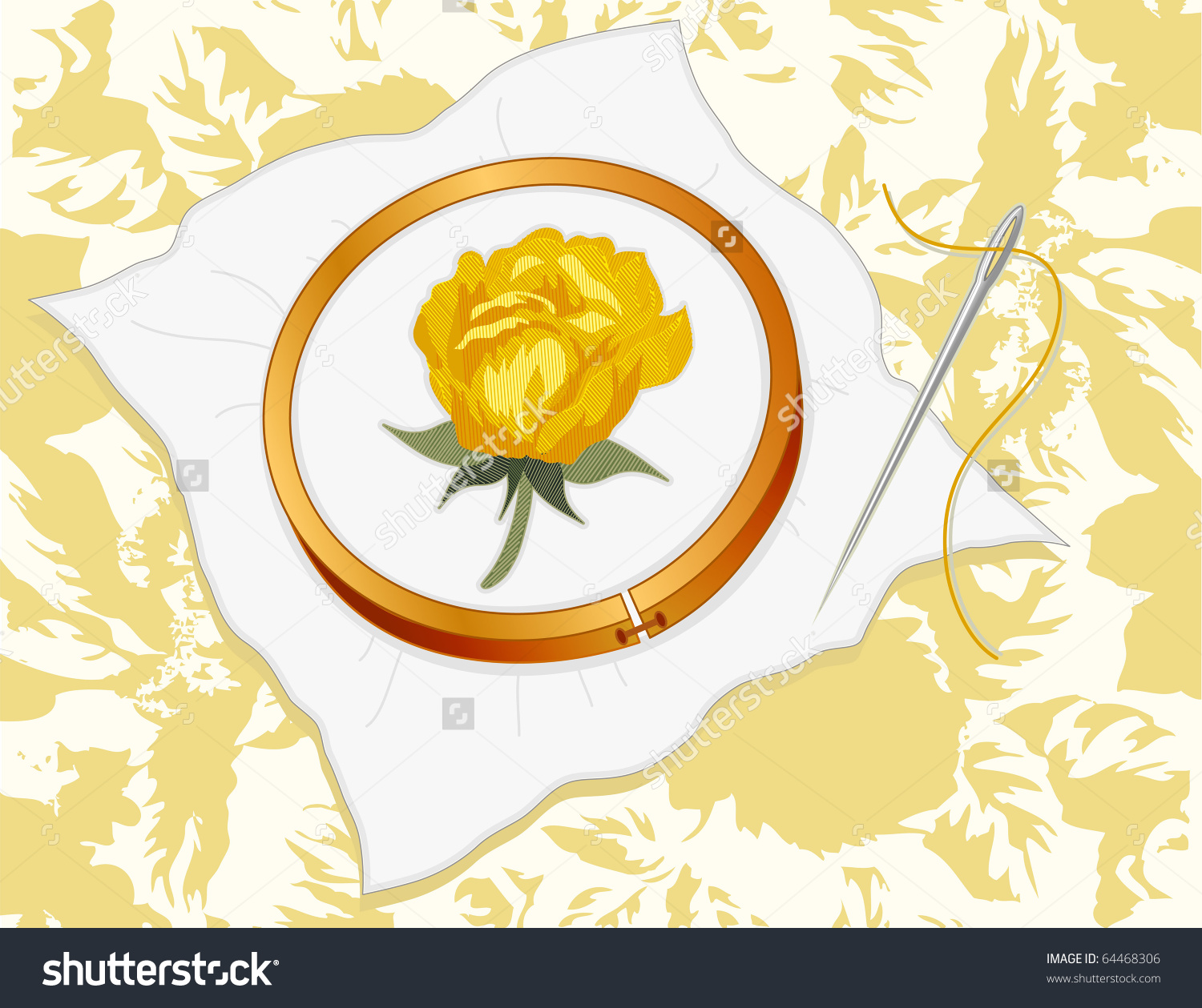 Embroidery. Yellow Rose Stitchery On White Fabric, Wood Hoop.