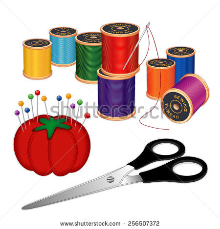 Vector Images, Illustrations and Cliparts: Sewing kit with silver.