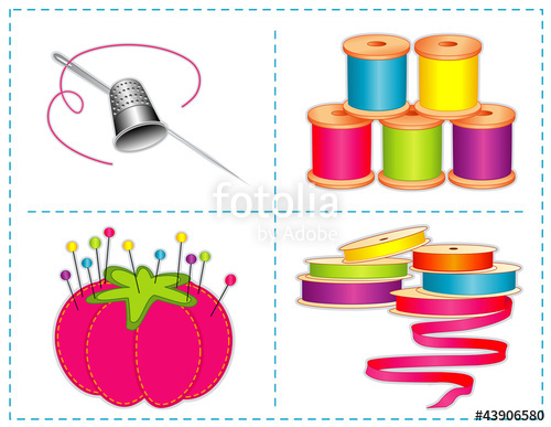 Sewing accessories: silver needle, thimble, ribbon, thread, pins.