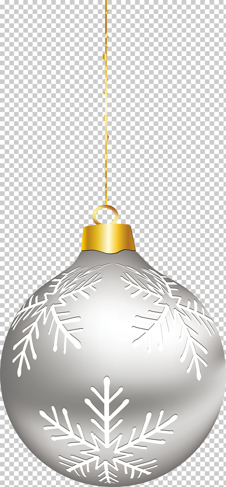 Christmas ornament Silver, Simple silver ornaments PNG.