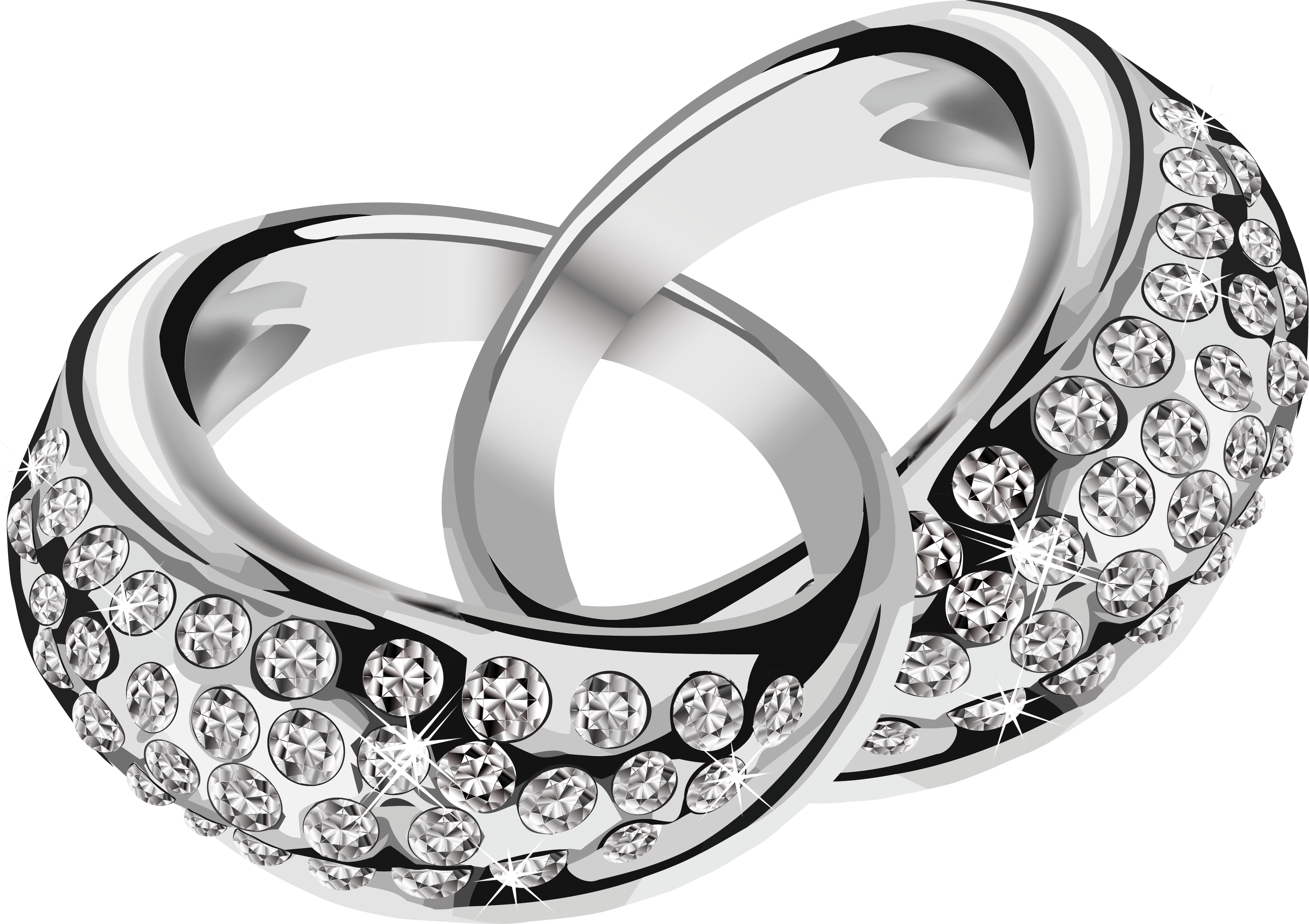 silver rings with diamonds PNG.