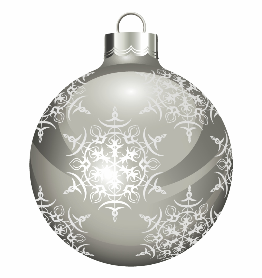 Silver Christmas Ornaments Png.