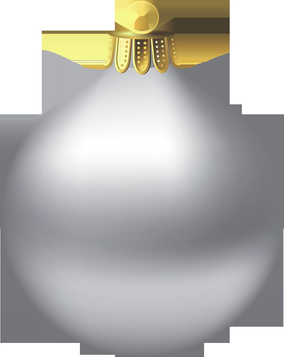Transparent Christmas Silver Ornament Clipart.