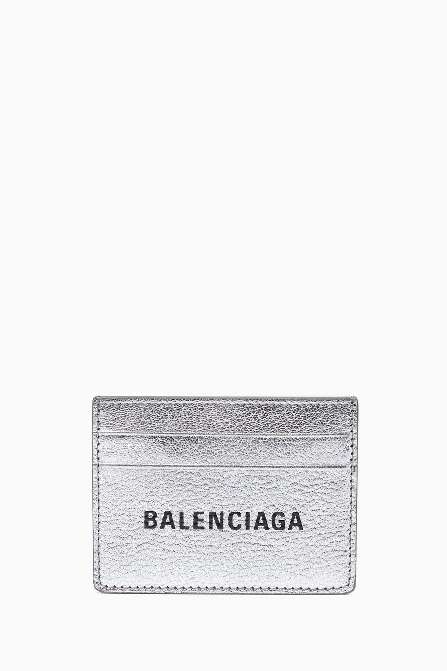 Shop Balenciaga Silver Silver Everyday Logo Card Case for.