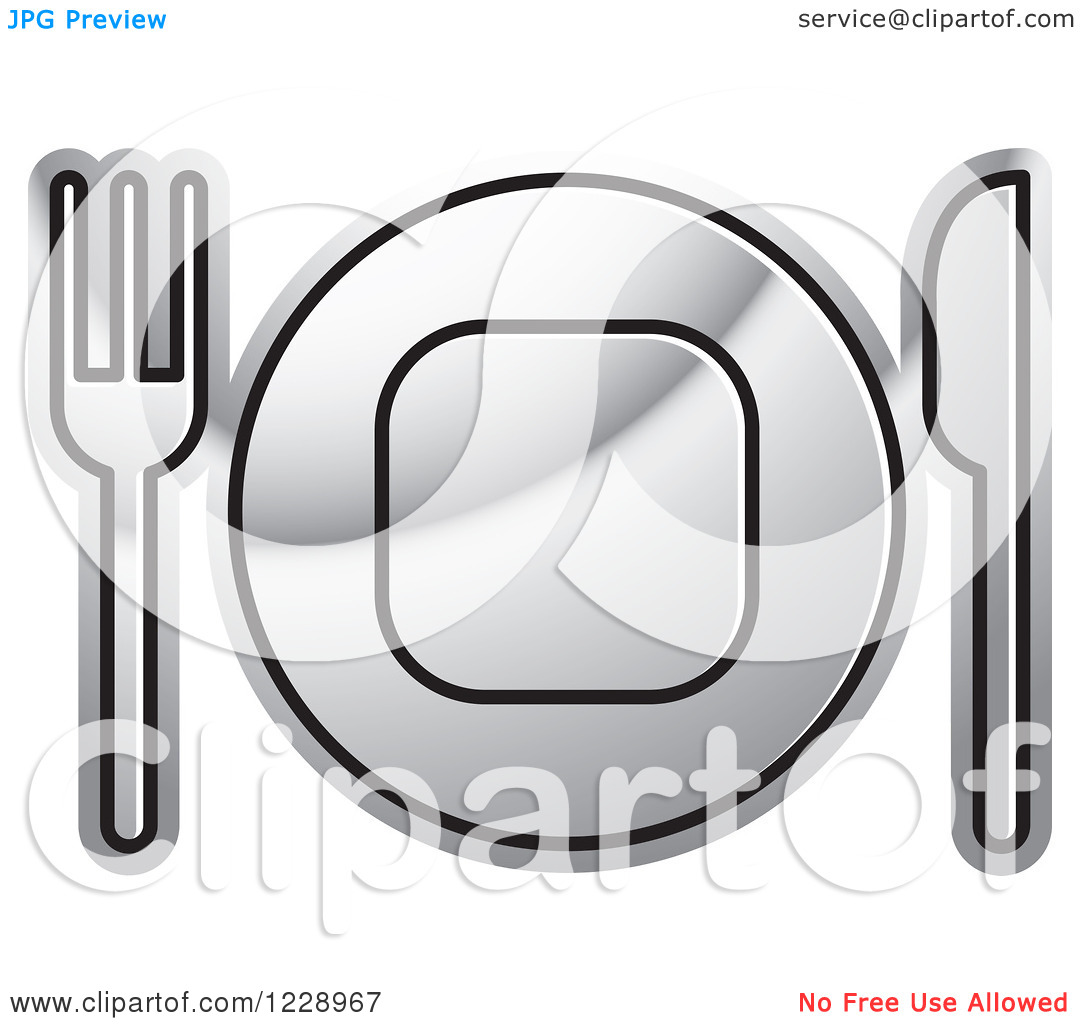 Clipart of a Silver Plate and Silverware Place Setting Icon.
