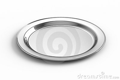 Empty Silver Plate Stock Image.