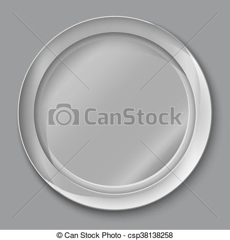 Clipart Vector of Vector illustration of empty silver plate. top.