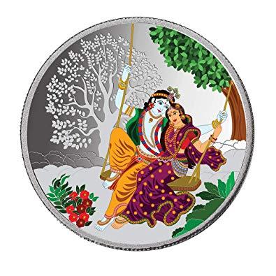Buy Taraash 999 Silver Multicolor Radha Krishna 50 Gram Coin.