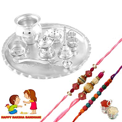 Vishal Silver Plated GL 8 inchi Pooja Set and Rakhi Set.