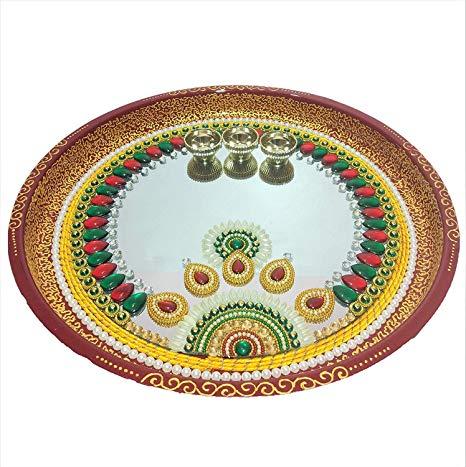 Indyhaat Meenakari Puja Thali, Aarti Pooja Thali(Silver white, 22.86 cm).