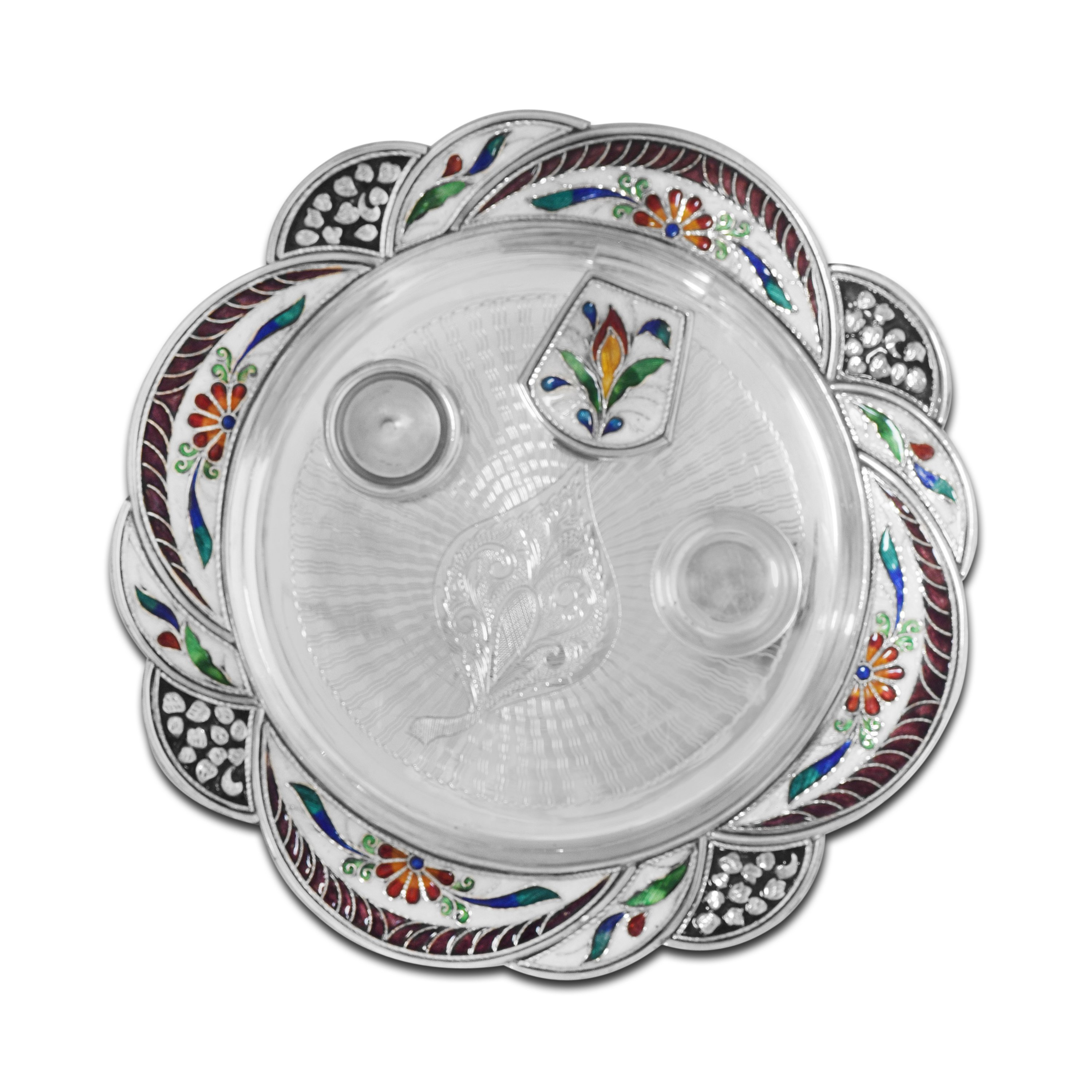 Silver Enamel Thali Set by PNG Jewellers.