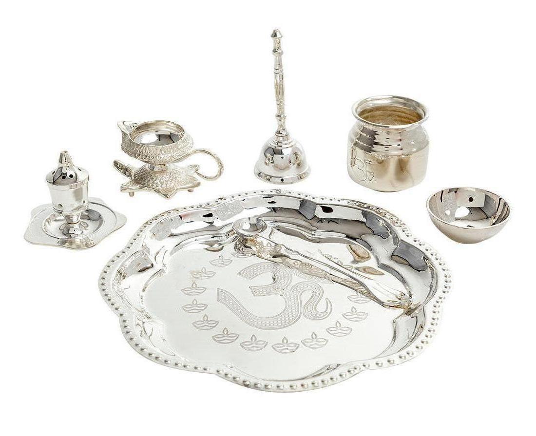 silver plated diwali Pooja thali.