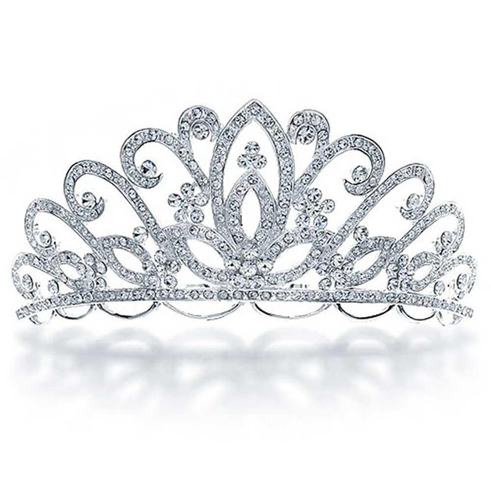 Bridal Flower Tiara Headpiece with Crystal Pave Rhinestone.