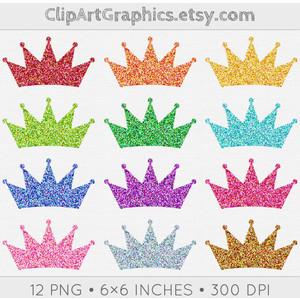 Digital Glitter Crown Clip Art, Princess Crown Clipart, Spar.