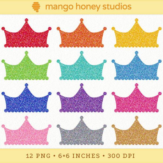 Digital glitter crown clipart: crown shapes, princess crown, tiara.