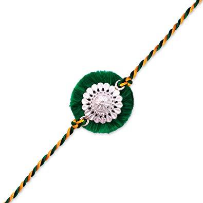(0106) Milan Jewellers BIS HALLMARKED 99.5% Fine Silver Certified Best  Silver Rakhi (Green).