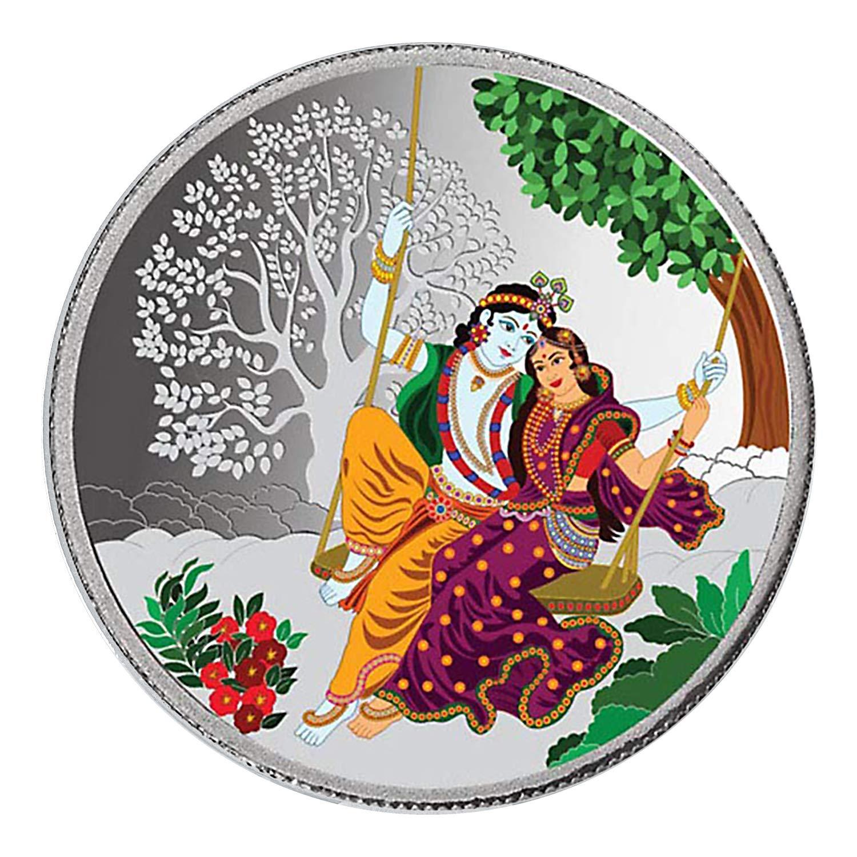 Peora 20 Gm, 999 Purity Enamel Radha Krishna Silver Precious Coin.