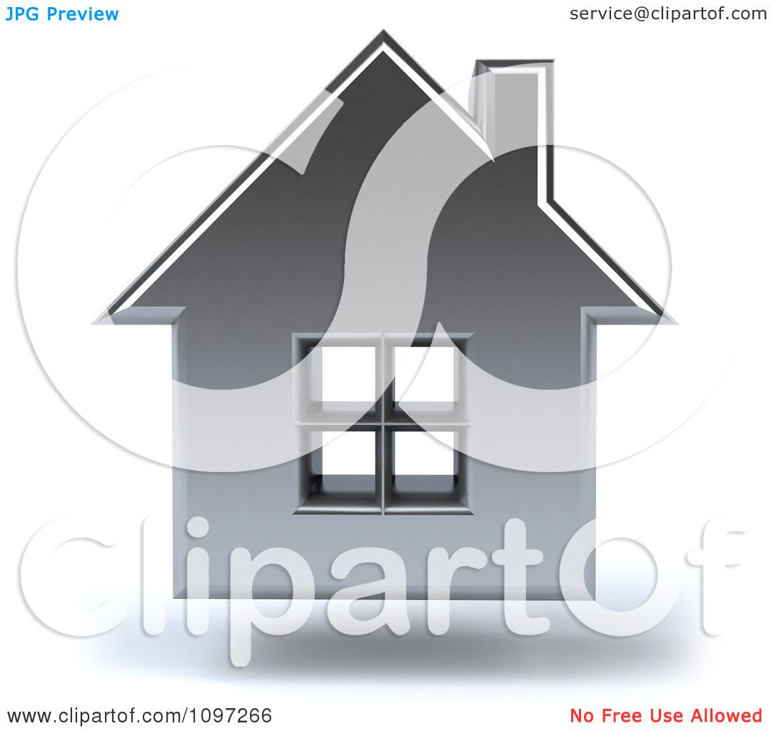 Clipart 3d Floating Silver House.