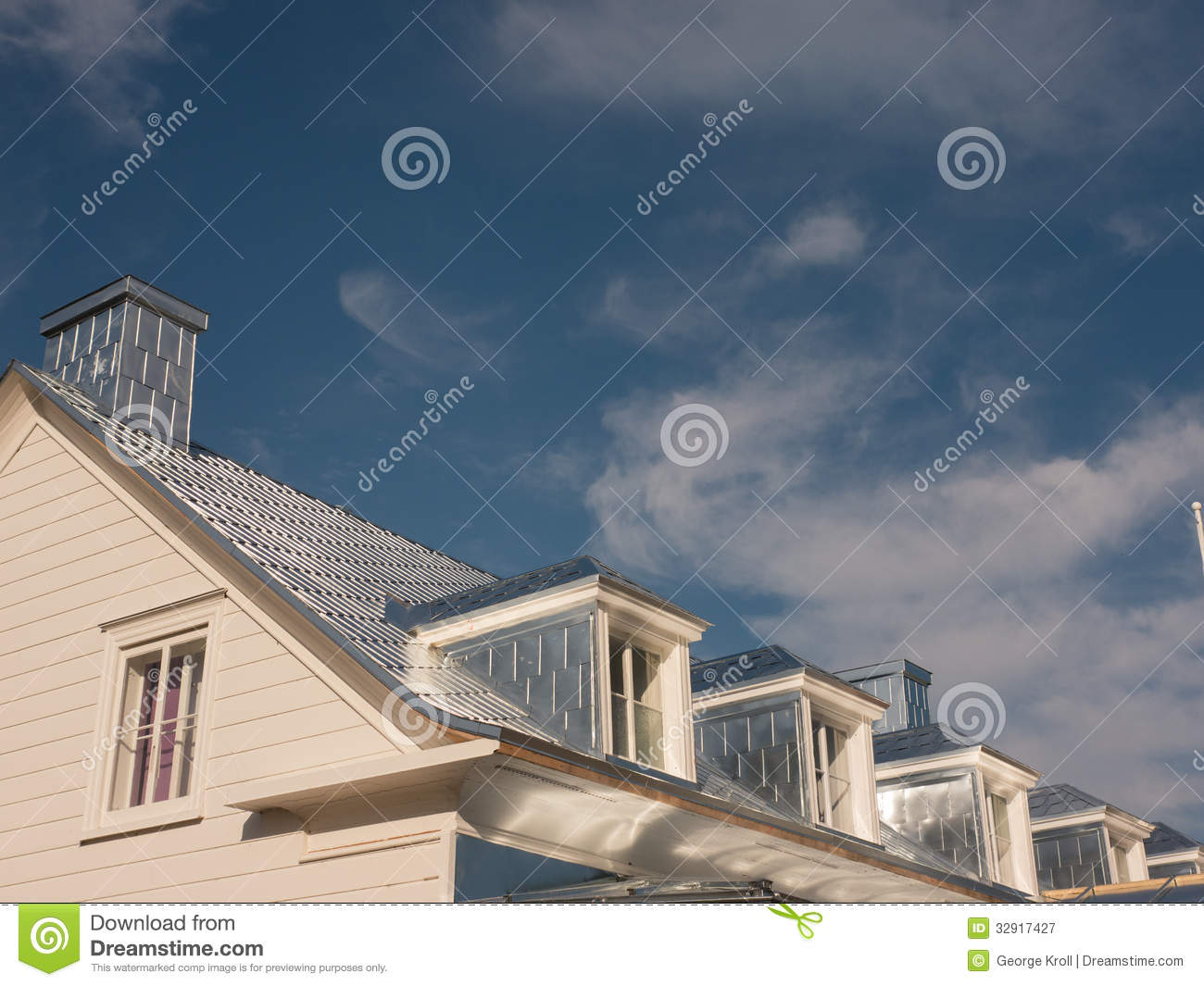 Shiny New Silver Tin Roof Royalty Free Stock Photography.