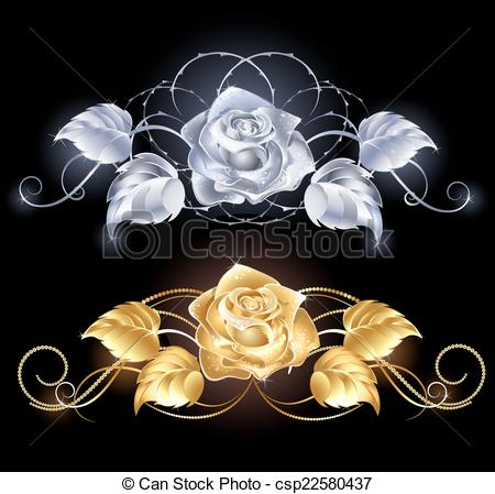 Silver Rose Clipart.
