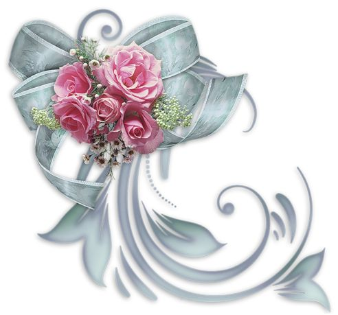 Silver bow with roses clip art.