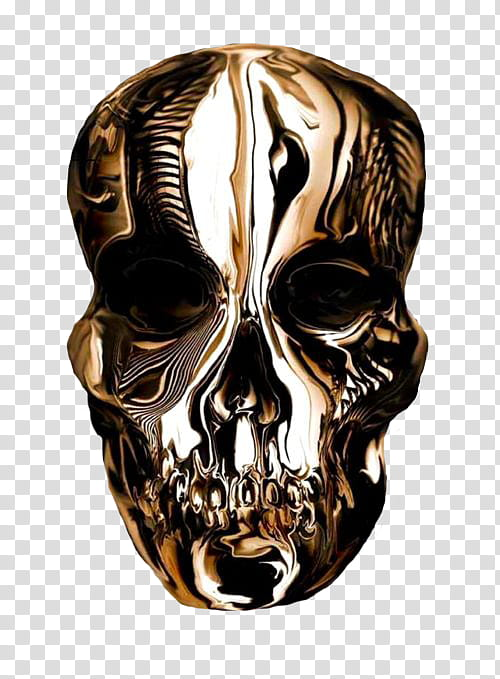 Golden Touch, silver skull decor transparent background PNG.
