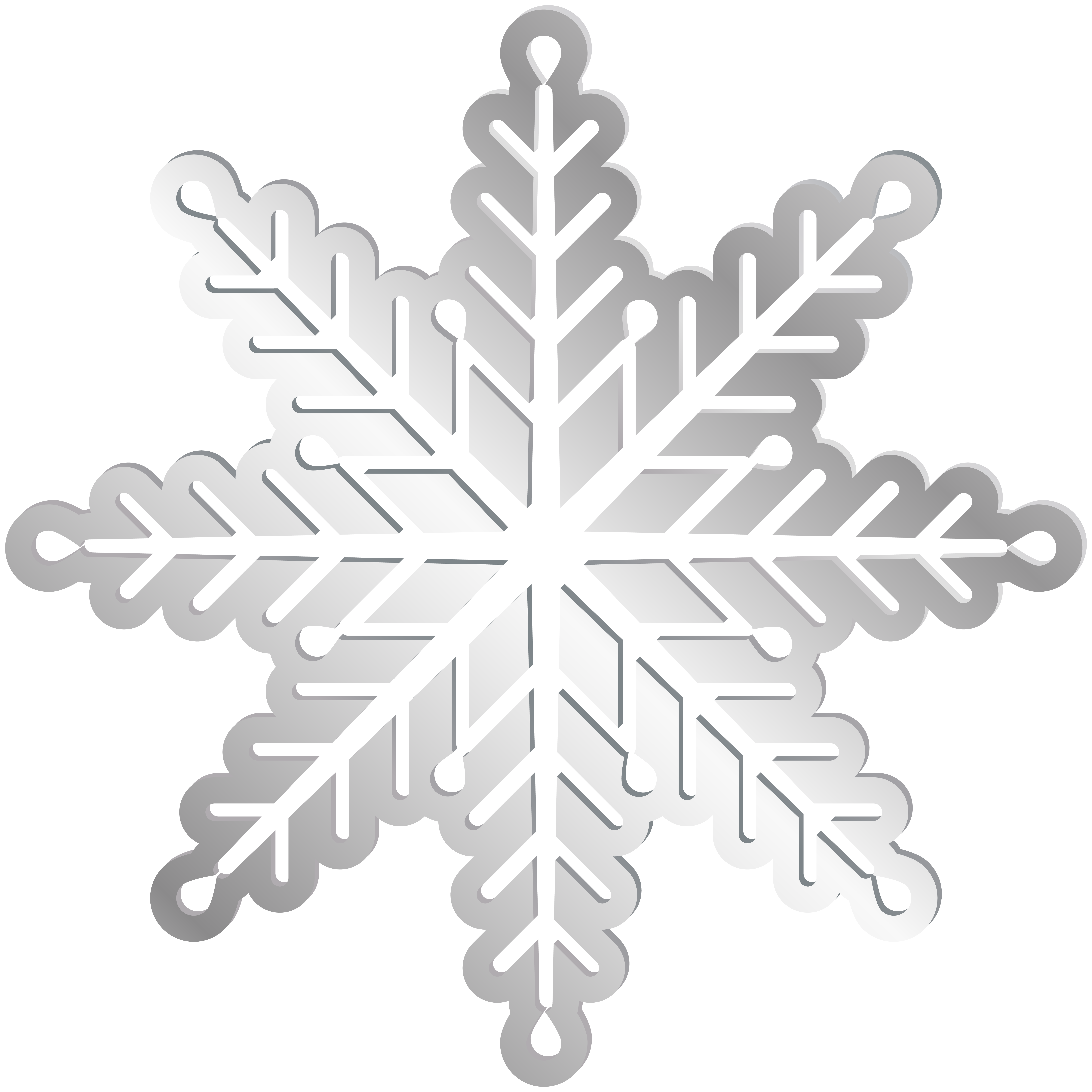 Silver Snowflake PNG Clip Art Image.