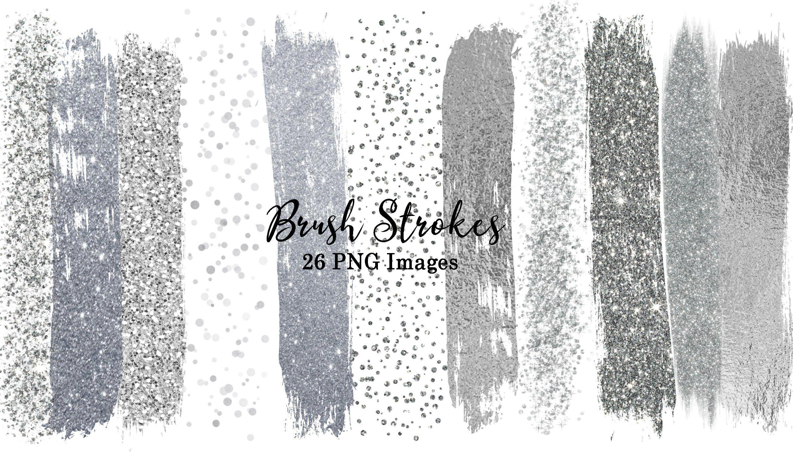 Silver Glitter Foil Sparkle Brush Strokes Clip Art #63.