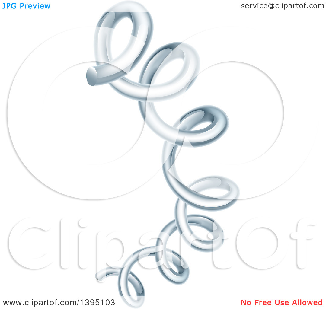 Clipart of a 3d Stretching Silver Coil Spring.