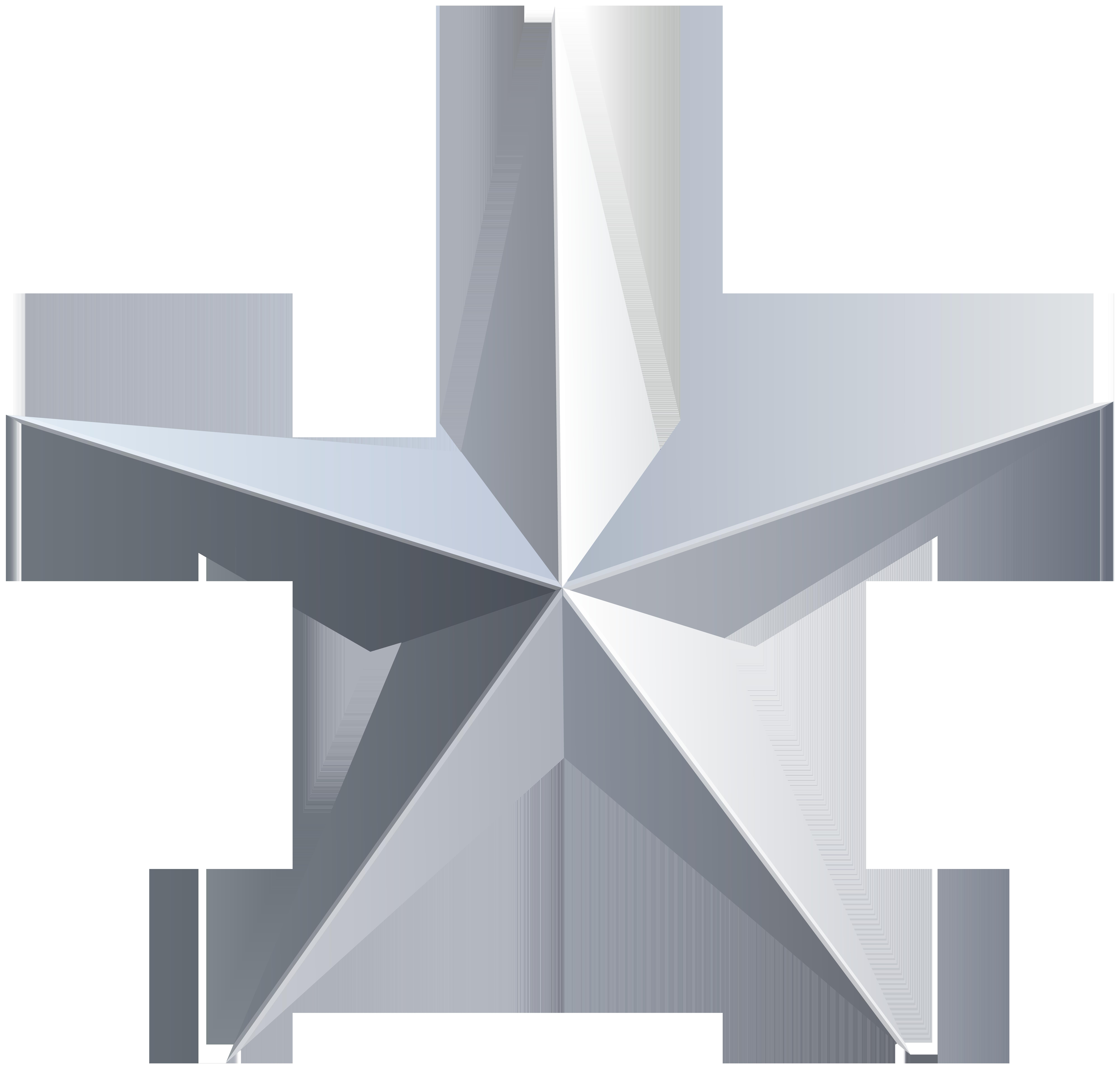 Silver Star Transparent PNG Clip Art.