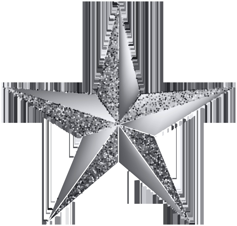 Silver Star Transparent Clip Art Image.