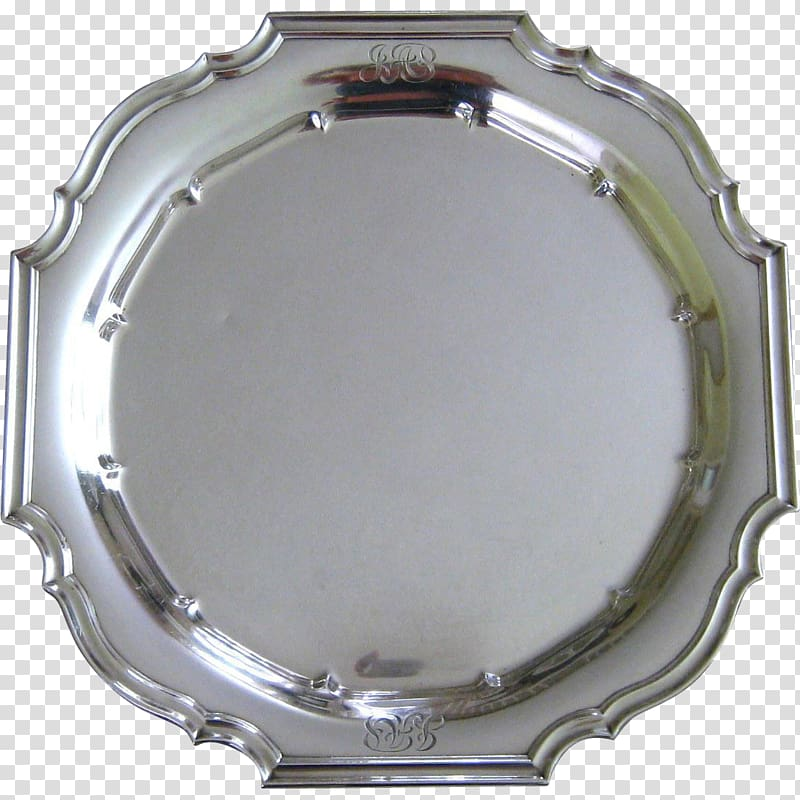 Sterling silver Platter Tray Antique, silver transparent.