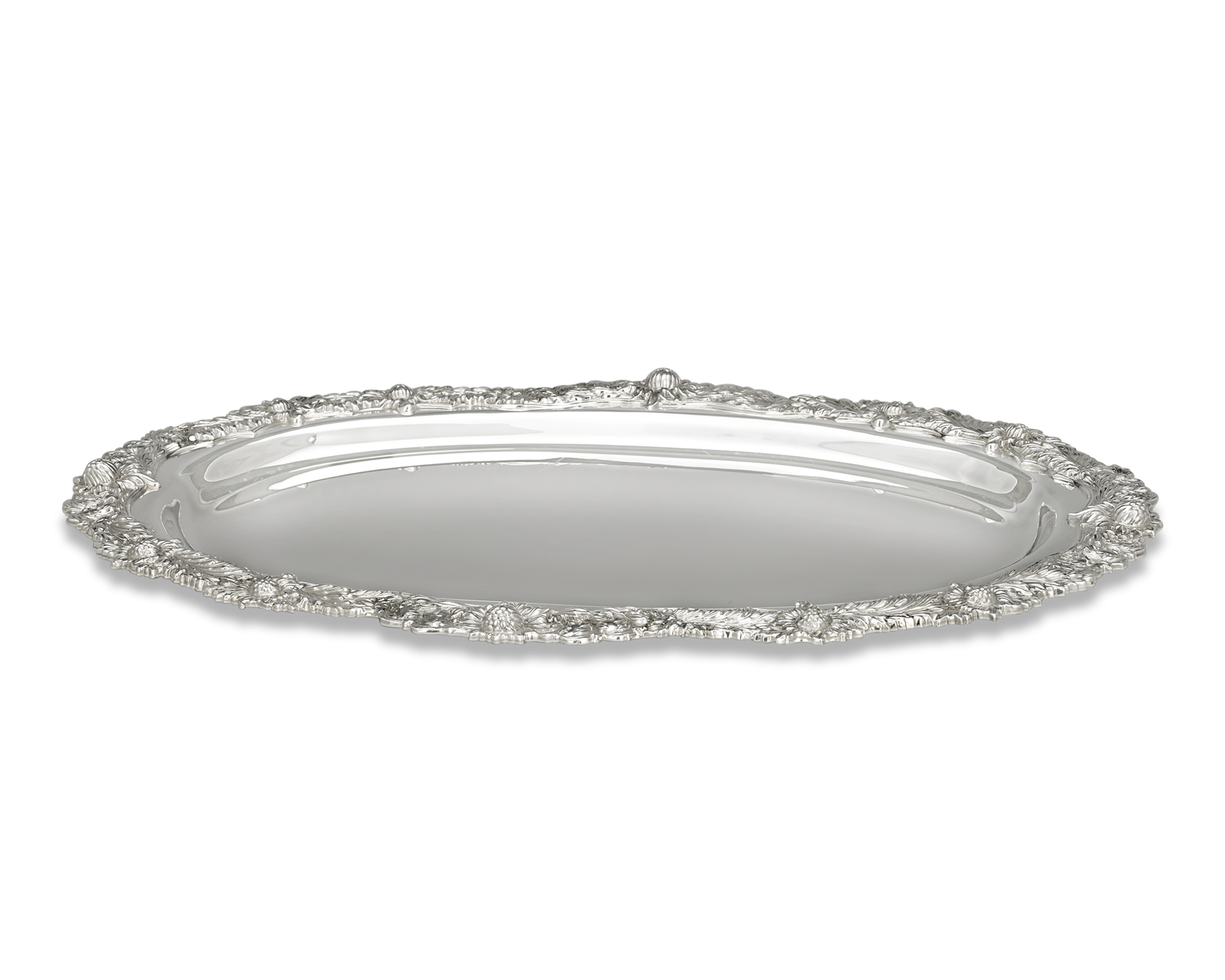 Tiffany & Co. Chrysanthemum Silver Serving Tray.