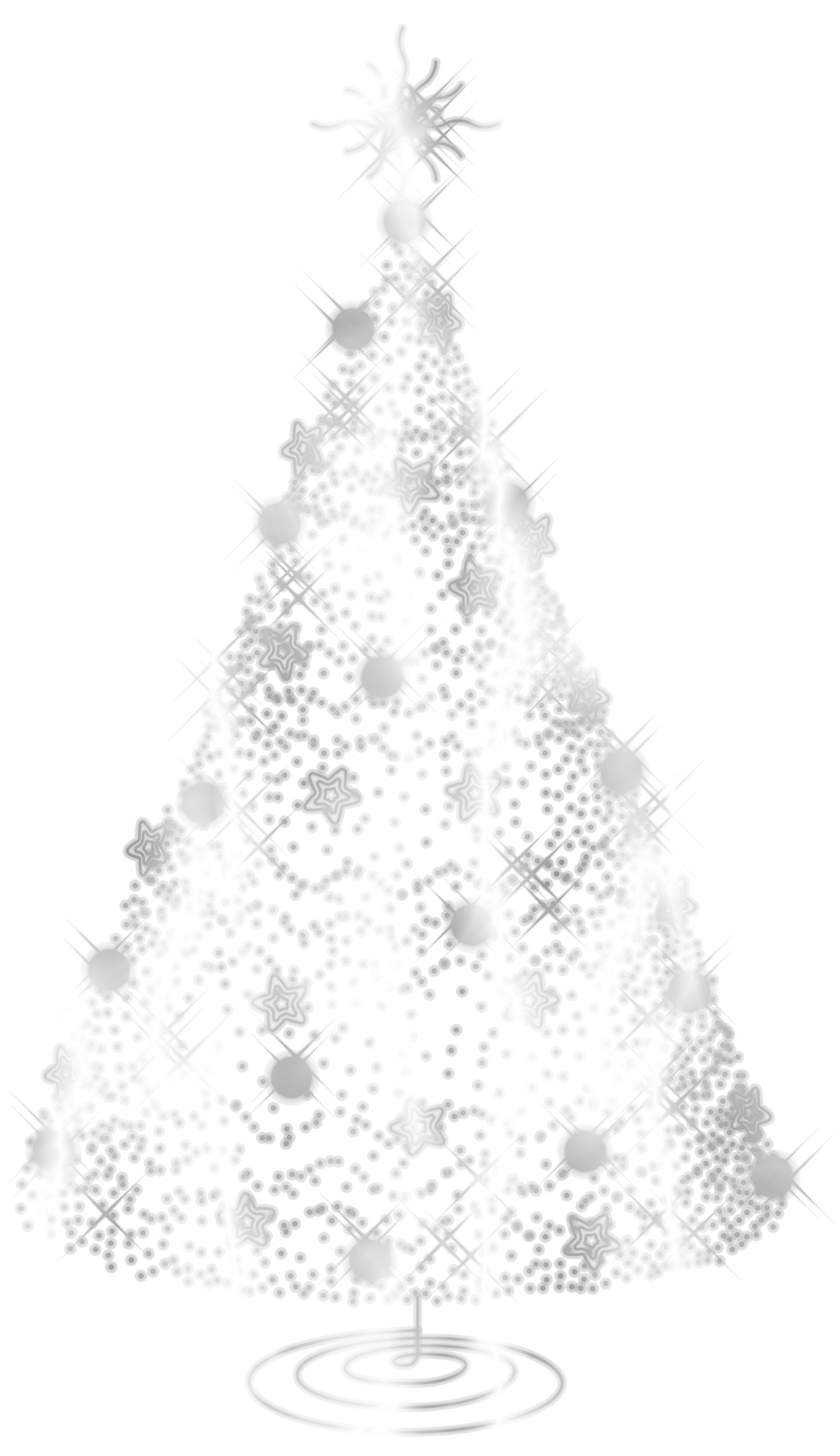 Silver star outline of christmas tree clipart.