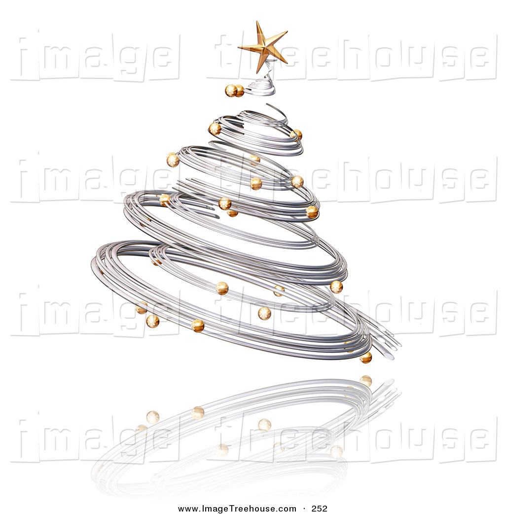 Free silver christmas tree clip art.
