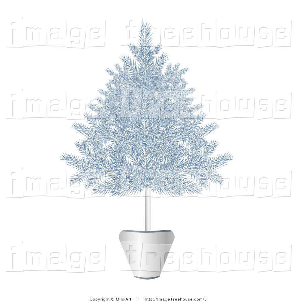 Free silver christmas tree clip art.