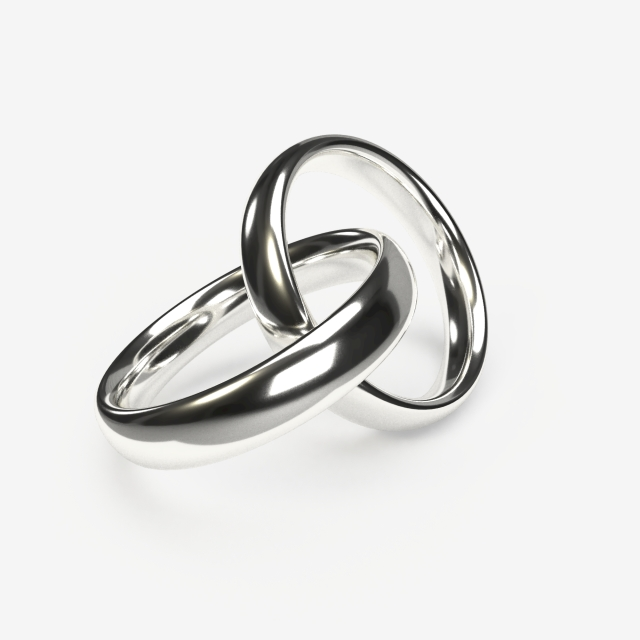 Luxurious Silver Wedding Rings On A Transparent Background.