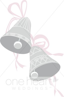 Two Decorated Silver Wedding Bells With Bows.
