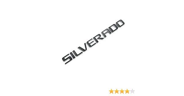 3D EMBLEM SILVERADO FOR CHEVROLET SILVERADO CHROME WITH BLACK REPLACEMENT.