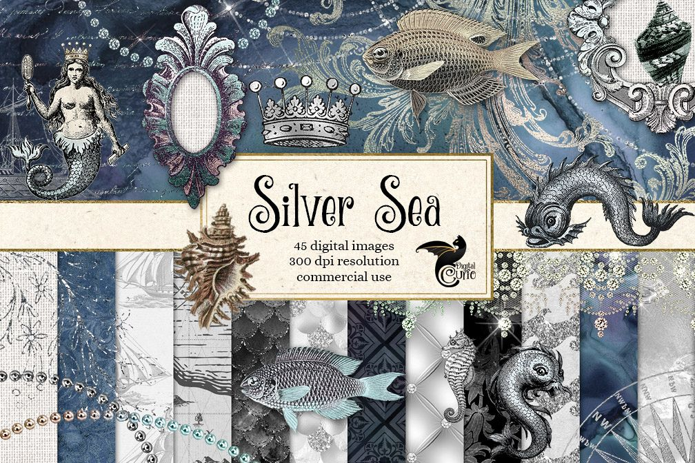 Silver Sea Digital Scrapbooking Kit.