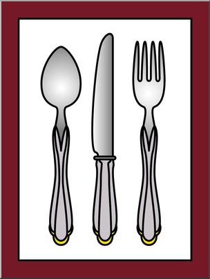 Clip Art: Silverware Color I abcteach.com.