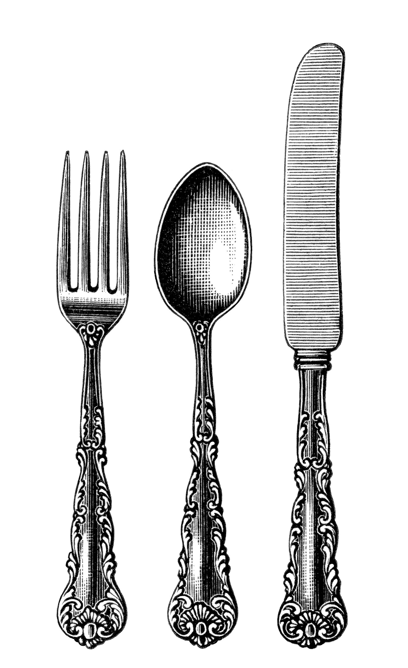 vintage cutlery clipart, black and white clip art, old fashioned.