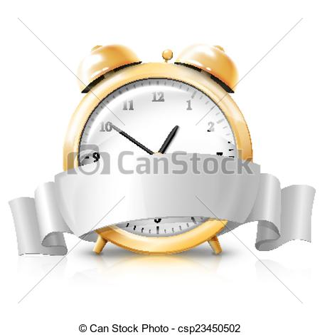 Vector Clipart of Golden alarm clock with silver white banner.