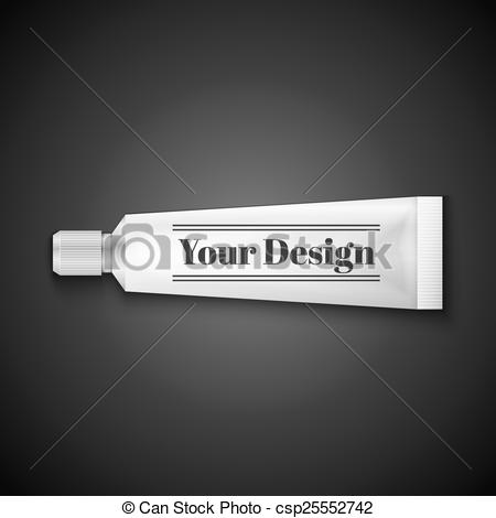 EPS Vector of Tube Of Toothpaste, Cream Or Gel Grayscale Silver.