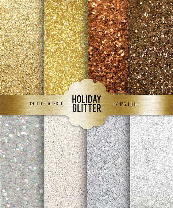Silver White & Gold Glitter Bundle.