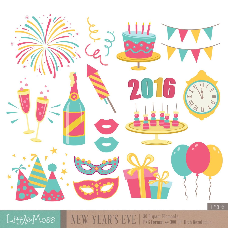 Art & Collectibles: New year Neujahr Silvester Digital Clipart.