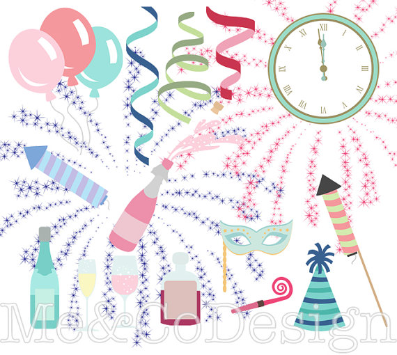 Silvester Countdown Clipart Feuerwerk Instant von MeAndCoDesign.